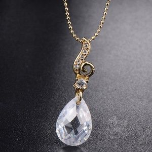 Yellow Gold Plated White Tear Crystal